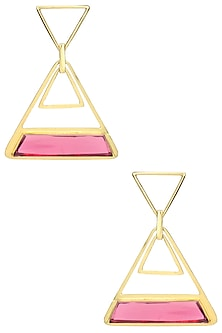 Gold Plated Pink Quartz Stone Earrings by Varnika Arora