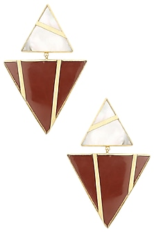 Gold Plated Mother Of Pearl and Red Jasper Stone Earrings by Varnika Arora