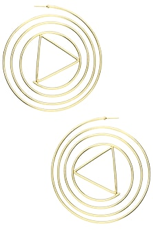 Gold Plated Abstract Swirl Hoop Earrings by Varnika Arora
