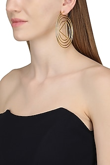 Gold Plated Abstract Swirl Hoop Earrings