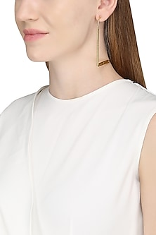 Gold Plated L Shaped Textured Earrings by Varnika Arora