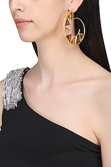 Gold Plated Pink Quartz and Citrine Hoop Earrings by Varnika Arora