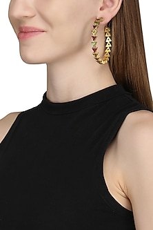 Gold Plated Multi-Coloured Stone Hoop Earrings by Varnika Arora