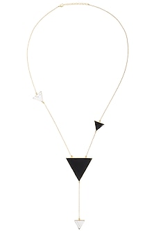 Gold Plated Black Onyx and Howlite Stone Necklace by Varnika Arora