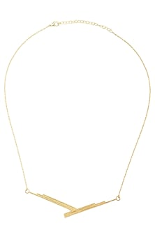 Gold Plated Textured Necklace by Varnika Arora