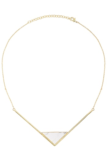Gold Plated Howlite Stone Necklace by Varnika Arora