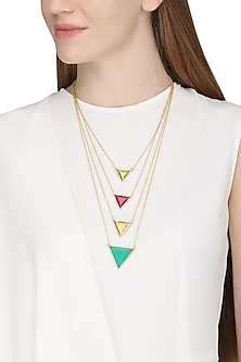 Gold Plated Multi-Coloured Stone Layered Necklace