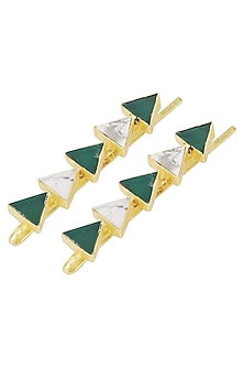 Gold Plated Green Onyx Embellished Hair Pin by Varnika Arora