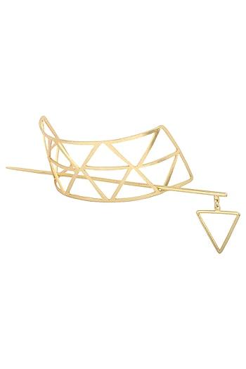 Gold Plated Geometrical Hair Pin by Varnika Arora