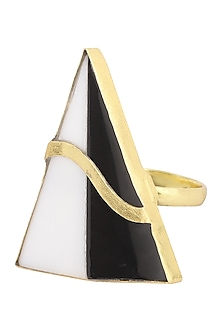 Gold Plated Black Onyx Ring by Varnika Arora