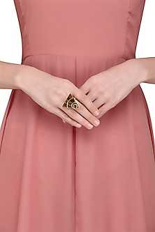 Gold Plated Tiger'S Eye Stone Embellished Ring by Varnika Arora