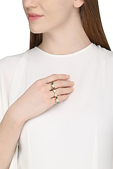 Gold Plated Green Onyx Ring