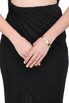 Gold Plated Pink Quartz Embellished Bracelet by Varnika Arora