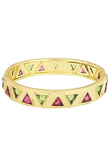 Gold Plated Pink Quartz Bracelet by Varnika Arora