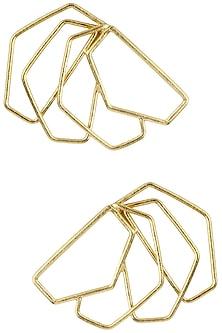 Gold Plated Geometric Roulade Earrings by Varnika Arora