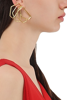Gold Plated Geometric Roulade Earrings