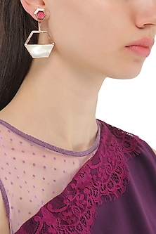 Rose Gold Plated Pink and White Gypsy Moth Earrings by Varnika Arora