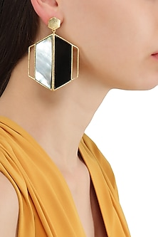 Gold Plated Black and White Egg Cell Earrings by Varnika Arora