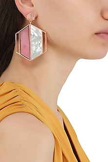 Rose Gold Plated Pink and White Egg Cell Earrings by Varnika Arora