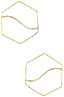 Gold Plated Hexagon Pupa Earrings by Varnika Arora