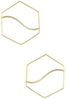Gold Plated Hexagon Pupa Earrings by Varnika Arora