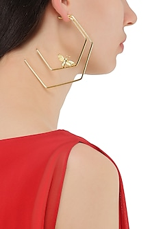 Gold Plated Double Line Killer Bee Hoop Earrings