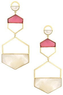 Rose Gold Plated Pink and White Mini Larva Earrings by Varnika Arora