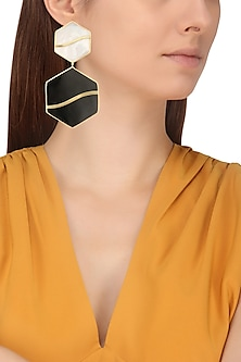 Gold Plated Black and White Mini Pupa Earrings