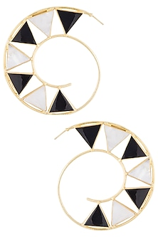 Gold plated black onyx and pearl stone hoop earrings by Varnika Arora