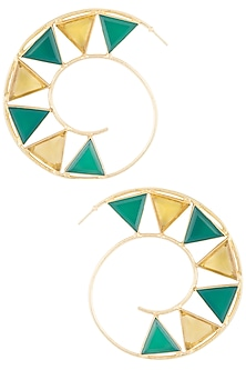 Gold plated green onyx and citrine stone hoop earrings by Varnika Arora