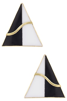 Gold plated black onyx and pearl stone earrings by Varnika Arora