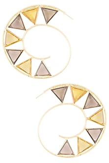 Gold plated smokey quartz and citrine stone hoop earrings by Varnika Arora