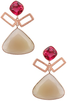 Rose gold plated Aurora Earrings by Varnika Arora
