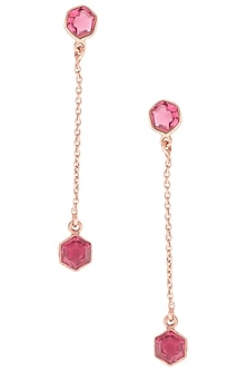 Gold Plated Hydro Pink Quartz Stone Dangly Earrings by Varnika Arora