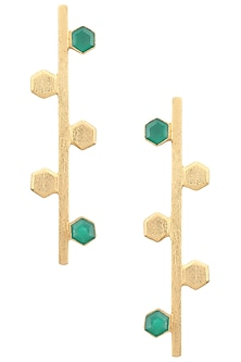 Gold Plated Malachite Drone Earrings by Varnika Arora