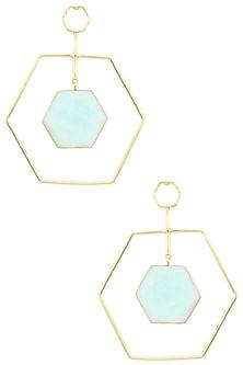 Gold Plated Amazonite Stone Honey Dune Earrings by Varnika Arora