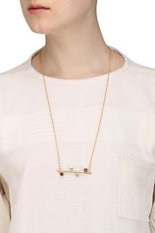 Gold Plated Hydro Pink Quartz Hexagon Pendant Neckpiece by Varnika Arora