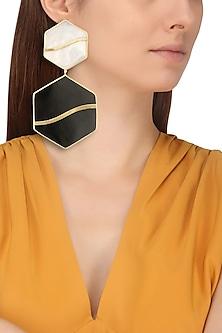 Gold Plated Black Onyx Pupa Earrings by Varnika Arora