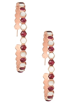 Rose Gold Plated Hydro Pink Quartz Insectopedia Hoops Earrings by Varnika Arora