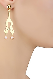 Gold Plated Peach Pearls Statement Earrings by Varnika Arora