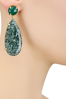 Gold Plated Moss Agate Semi Precious Stone Statement Earrings by Varnika Arora
