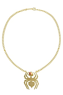 Gold Plated Mookite Semi Precious Stone Choker Statement Necklace by Varnika Arora