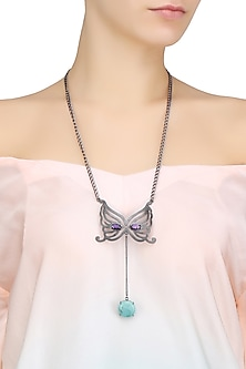 Black Plated Amethyst and Turquoise Mask Pendant Necklace by Varnika Arora