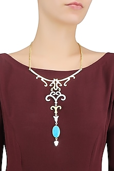 Gold Plated Compressed Turquoise Semi Precious Stone Statement Necklace by Varnika Arora