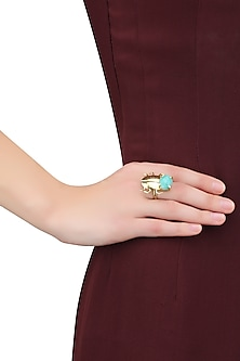 Gold Plated Amazonite Semiprecious Stone Statement Beetle Ring by Varnika Arora