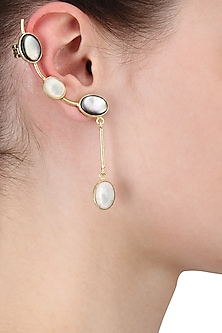 Gold Plated Empress's Mix Of White and Black Mother Of Pearls Ear Cuffs