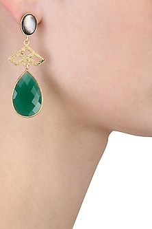 Gold Plated Empress's Black Mother Of Pearl and Green Onyx Drops Earrings by Varnika Arora