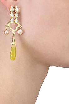 Gold Plated Empress's Mother Of Pearls and Yellow Onyx Drop Earrings by Varnika Arora