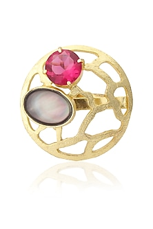 Gold Plated Queen's Pink Quartz and Black Mother Of Pearls Ring by Varnika Arora