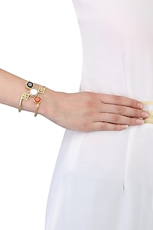 Gold Plated Leading Lady's Wristlet Hand Cuff by Varnika Arora